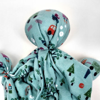 "Lovey Doll - Soft Doll - Unique Baby Gift - Handmade Fabric - Soothing Doll - Trucks and Trains - 100% Cotton Flannel Fabric - 11""-12"" Tall"