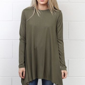Long Sleeve High Neck Tunic Top {Olive}