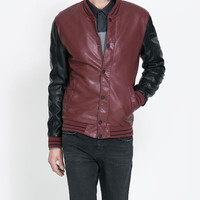 FAUX LEATHER JACKET WITH KNITTED COLLAR - Jackets - Man | ZARA United States