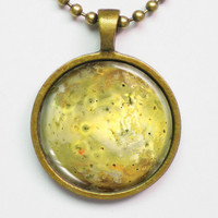Astronomy Necklace - IO in true color: Bright Yellow - Moon Necklace - Galaxy Series