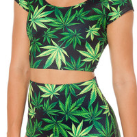 Womens Fun Weed Marijuana Print Swimsuit 2-Piece Set Swimwear