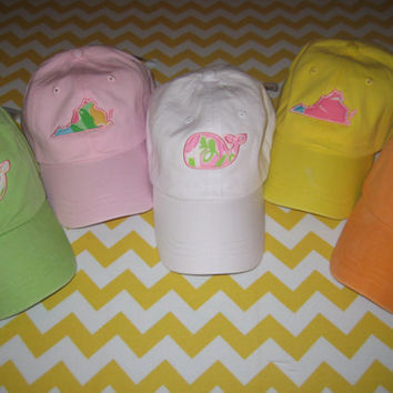 YOUTH State or whale applique hats using Lilly Pulitzer fabric