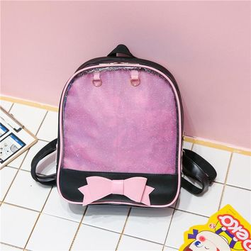 Student Backpack Children MSMO Kawaii Transparent Heart Window Lolita Student School Bag Backpack Candy Color Lovely Ita Bag Sweet Cute Girls Gift AT_49_3