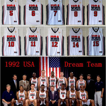 USA 1992 Dream Team Jerseys #12 John Stockton #15 Magic Johnson #10 Clyde Drexler #7 Larry Bird #8 Scottie Pippen White Basketball Jersey