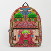 lady panda in the enchanted forest with magic flowers Backpack by Pepita Selles