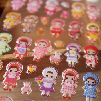 Dress Up baby doll sticker Colourful doll craft doll crystal sticker traditional custume folk doll baby girl doll deco special greeting card