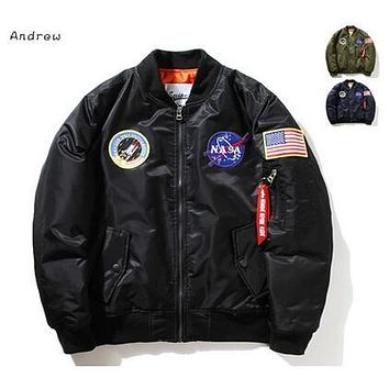 NASA Mens MA1 Bomber Jacket Insignia USAF Kanye West Hip Hop Sport Male Windbreaker Jacket Flag Mens Spring Thin section Jacket XXXXL