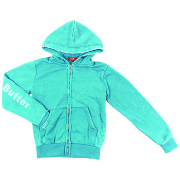 "Butter GIRLS ""FESTIVAL BEAR"" BURNOUT ZIP HOODIE - Teal"
