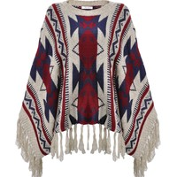 ZLYC Women's Oversized Bohemian Geometric Stripe Blanket Sweater Aztec Pullover Cape with Fringe Trim
