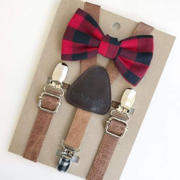 Buffalo Plaid Baby & Toddler Bow Tie w/Leather Suspenders
