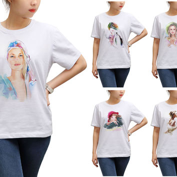 Women Potrait painting Printed Round Neck Short Sleeve T- Shirt WTS_17