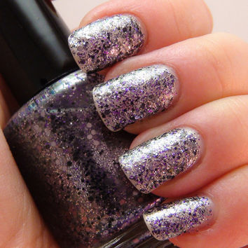 Rez - 15ml - dark grey & purple glitter duochrome - nail polish by Indigo Bananas