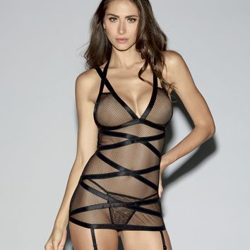 Cut-Out Fishnet Garter Slip
