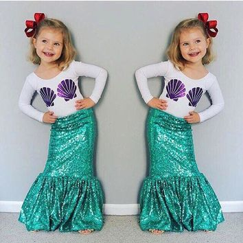 DCCKWQA 2016 Autumn2 Pieces Set Tshirt And Mermaid Tail Kid Halloween Costume Super Cute Shell Print Flora Striped Baby Girl Cos002