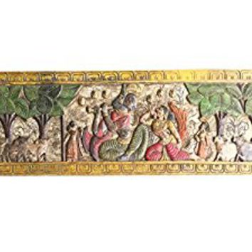 Indian Antique Vintage Krishna Fluting with Radha Headboard Wall Sculpture, Yoga, mediation Decor