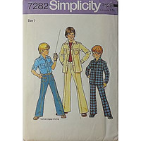Boys Shirt Pants Simplicity 7282 Pattern Vintage 1975 Size 7 Clothes Uncut c420