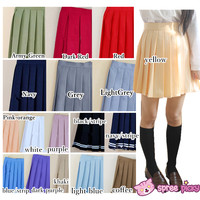 [XS-4XL] 20 Colors Pastel Macarons Uniform Seifuku Pleated Skirt SP151805