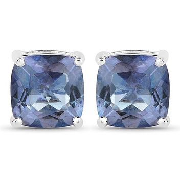 Natural 4.20CT Cushion Cut Tanzanite Color Mystic Topaz Stud Earrings