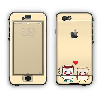 The Cute Toast & Mug Breakfast Couple Apple iPhone 6 Plus LifeProof Nuud Case Skin Set