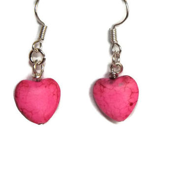 Pair this Pink Howlite Heart Earrings with career or weekend wear Handmade