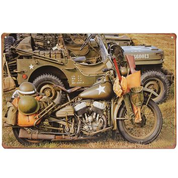 20x30cm US Army World War II Harley Military Motorcycle Sheet Metal Drawing Sign Metal Wall Decor