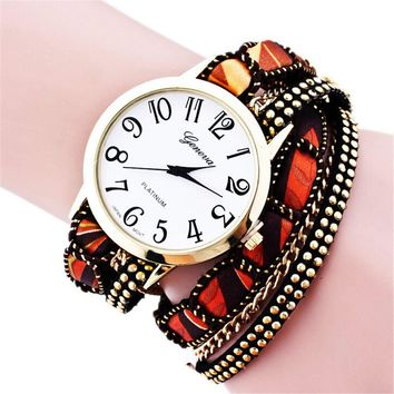Fashion Womens Handmade Leather Strap Watch Girls Sports Casual Bracelet Watches Best Christmas Gift