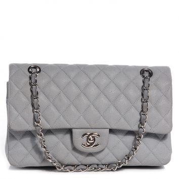 CHANEL Iridescent Caviar Medium Double Flap Light Grey