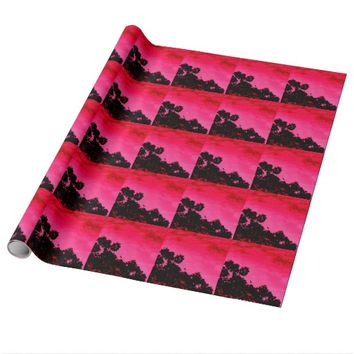 PINK SUNSET BIRD WRAPPING PAPER