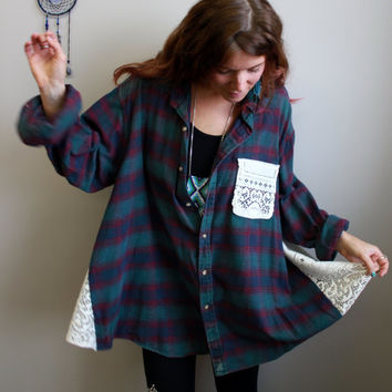 Send In Your Own Plaid CUSTOM Made To Order Lace Babydoll Oversized Heart Applique Eco Friendly Upcycled Bohemian Romantic Shirt Blouse