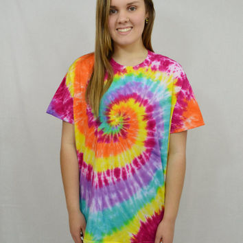 Tie dye Shirt Rainbow XL Oversize Tee Hippie Clothing Womens Mens Unisex Handmade Tie Dye Bright Colorful Flower Child Boho Hippie