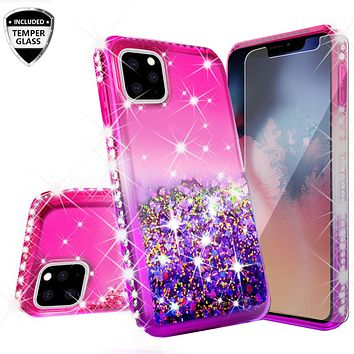Apple iPhone 11 Pro Max Case Liquid Glitter Phone Case Waterfall Floating Quicksand Bling Sparkle Cute Protective Girls Women Cover for iPhone 11 Pro Max W/Temper Glass -  (Hot Pink/Purple Gradient)