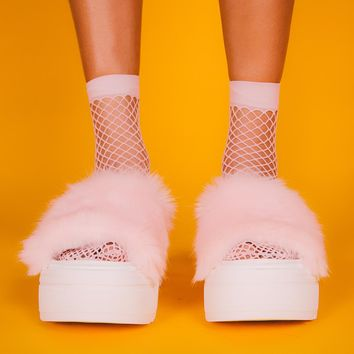 Pastel Pink Fishnet Crew Socks (Set of 2)