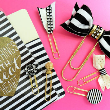 planner accessories, decorative paperclips, bow paperclips, black and gold paperclips, black and white stripe planner accessories