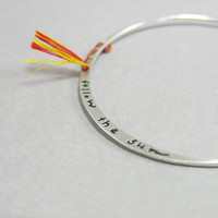 Sterling silver thin bangle, follow the sun, engraved, handwritten, boho, skinny stacking bangle with indian silk