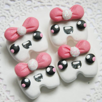 Polymer Clay Hair Bow Centers, Beads, Buttons, Charms, Chunky Pedants - Kawaii Tooth Girl - 4pcs