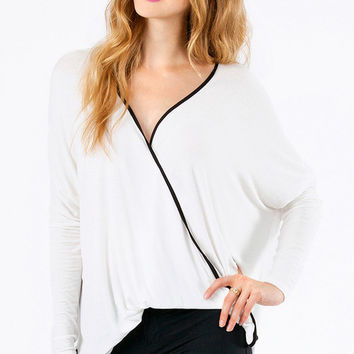 White V-Neck Long-Sleeve Shirt