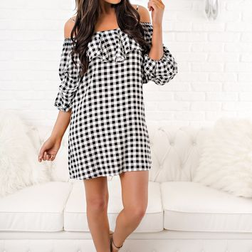 Check Me Out Checkered Dress (Black/White)