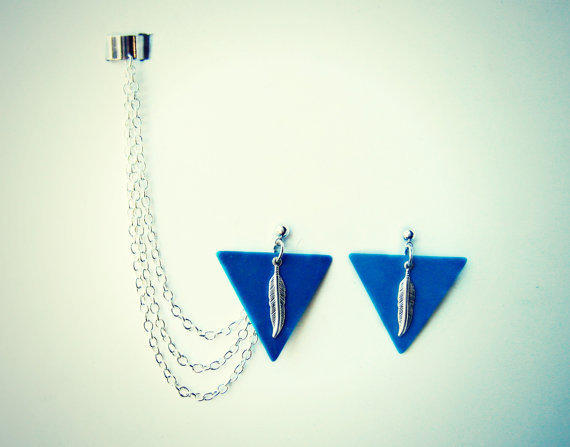 blue triangle and feather earrings and ear cuff