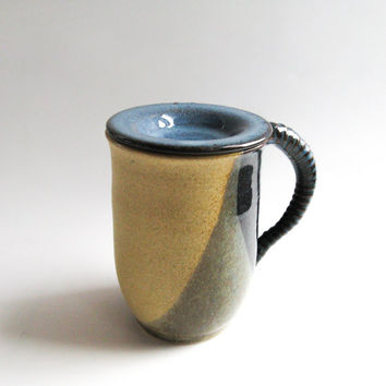 Ceramic Lidded Mug in Earth Tones, Mug with Cover - Handmade Pottery