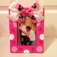 Pink Polka Dot Minnie Mouse Picture Frame