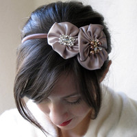 Beaded Headband With Champagne Brown Satin by BaroqueAndRoll