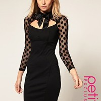 ASOS | ASOS PETITE Exclusive 40s Dress With Spot Mesh Sleeves And Pussybow at ASOS