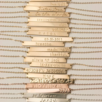 Bar Necklace Personalized Name Plate Necklace, Gold, Silver, Rose Gold Name Bar Necklace: Layered and Long PERFECT BAR Necklace, LN111h