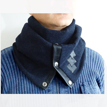 Dark Blue Men Women Unisex 100% wool scarf with Snaps Leather