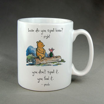 winnie the pooh how to spell love,coffee mug,tea mug,ceramic mug