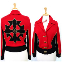 Vintage St John by Marie Gray Red and black knit Jacket