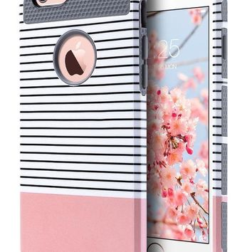 DCCKRQ5 iPhone 6s Case for Girls, iPhone 6 Case, ULAK Hybrid Slim Case With Hard PC and Inner Rubber Cover for Apple iPhone 6S 4.7 Inch & iPhone 6 4.7 Inch Device (Grey/Pink/Minimal Stripes)