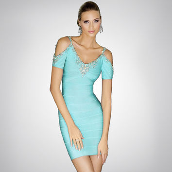 Women's Fashion Diamonds Spaghetti Strap Sexy Strapless Bandages Dress One Piece Dress [4919746180]