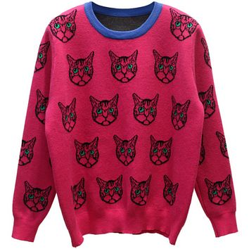 Gucci Trending Cat Print Round Neck Long Sleeve Pullover Sweater G