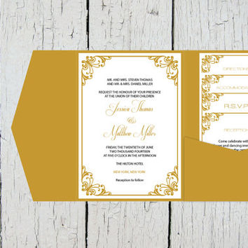 Pocket Wedding Invitation DIY Printable Editable Templates Set - Gold Flourish Editable PDF Template Set - Instant Download - DIY You Print